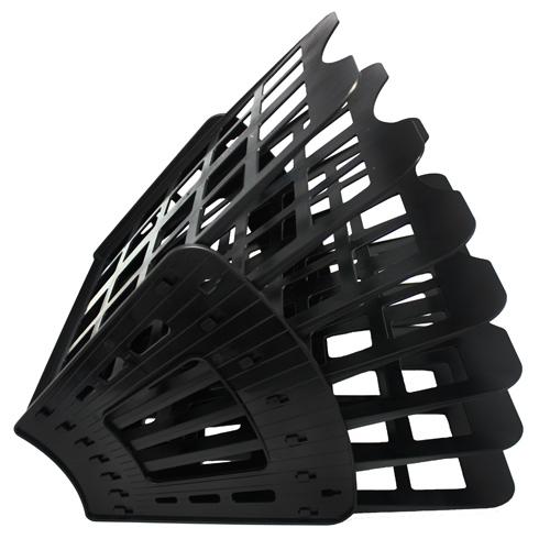 Многосекций лоток для бумаг Оскол-Пласт Веер эконом, А4, 275х365х325 мм, 7 секций, черный