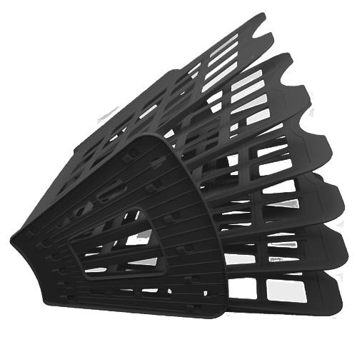 Многосекций лоток для бумаг Оскол-Пласт Веер эконом, А4, 275х365х325 мм, 6 секций, черный