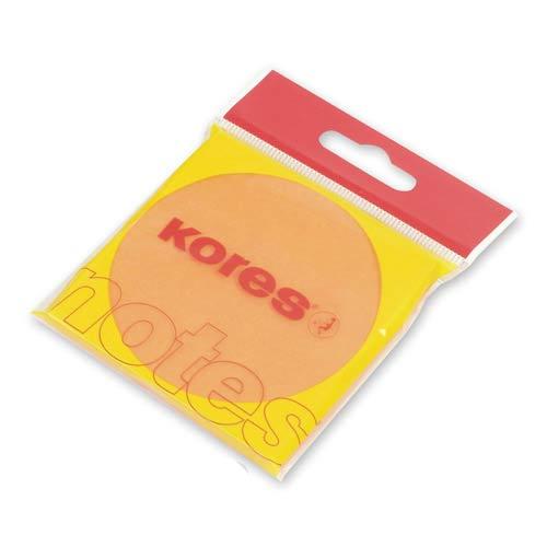 Блок для записей с клейким краем Kores, 75х75мм, оранжевый неон 100л