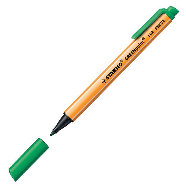 Линер Stabilo GreenPoint, 0,8мм, зеленый