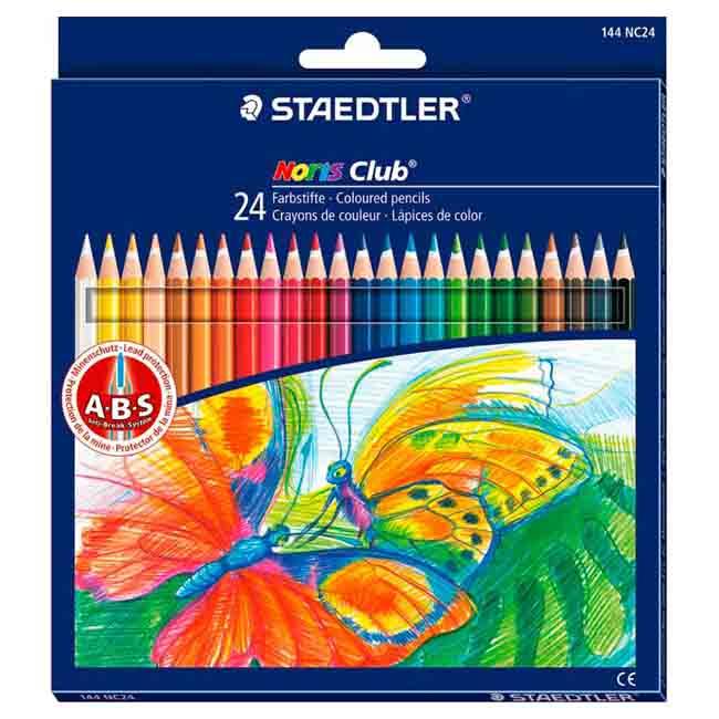 Набор цветных карандашей Staedtler Noris club, 24 цвета, с ластиком, 144NC2410