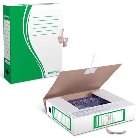 Архивная папка на завязках Brauberg 124851, А4, 75мм, зеленая