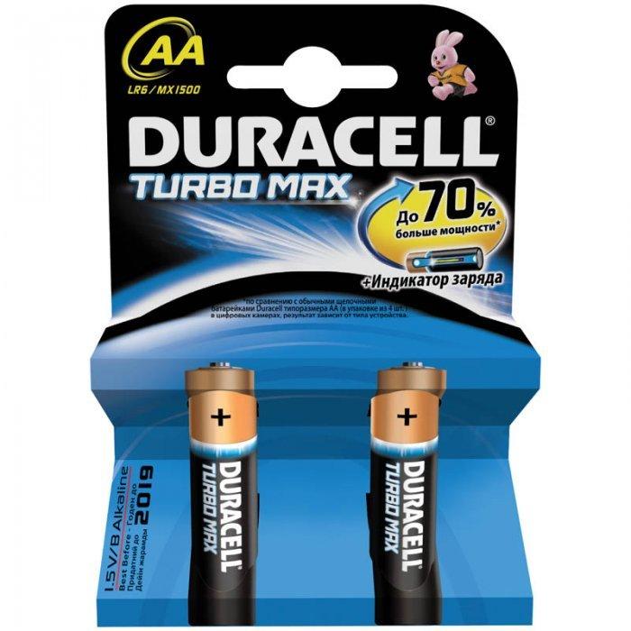 Батарейки Duracell Turbo Max AA/LR6, алкалиновые, 2 шт/упак.