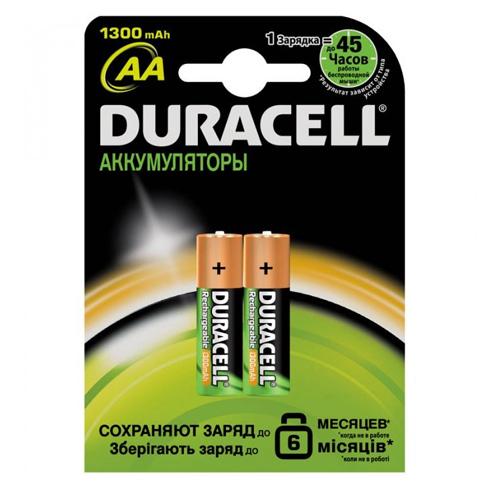 Аккумуляторы Duracell AA/HR6 NiMH, 1300mAh, 2шт/упак