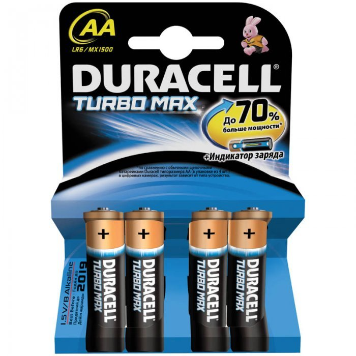 Батарейки Duracell Turbo Max AA/LR6, алкалиновые, 4шт/упак