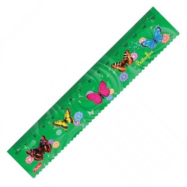 Линейка Hatber пластиковая Бабочки, 15см