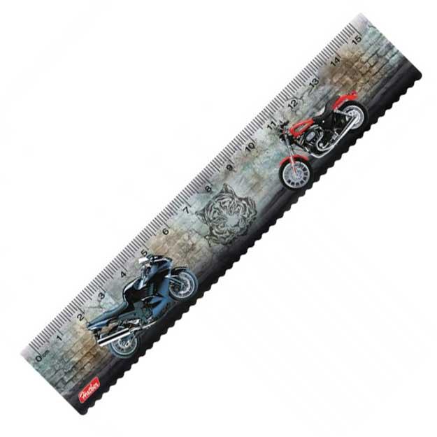 Линейка Hatber пластиковая MotorBike, 15 см