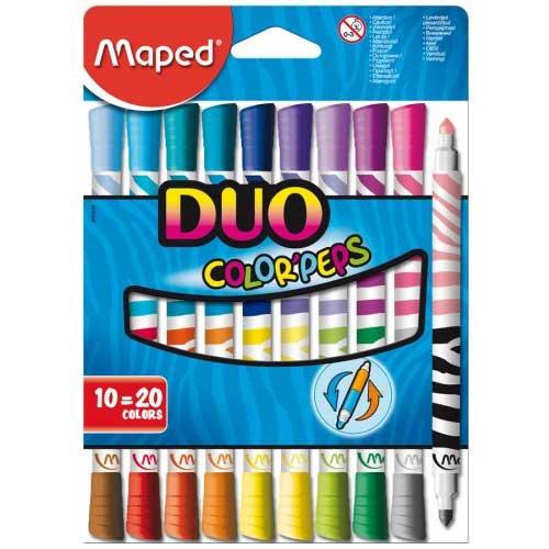 Фломастеры двухсторонние Maped Color'Peps Duo, толщина линии 4,75 мм, 847010, 847010, 20 цветов