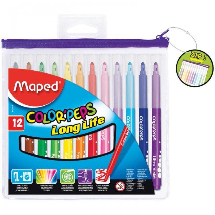 Фломастеры Maped Color'Peps Long Life, толщина линии 2 мм, 845310, 845017, 12 цветов в футляре