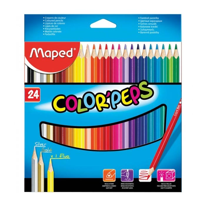 Набор цветных карандашей Maped Color Peps, трехгранные, 183224, 24 цвета
