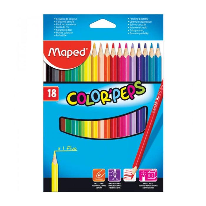 Набор цветных карандашей Maped Color Peps, трехгранные, 183218, 18 цветов