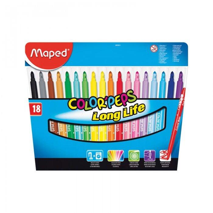 Фломастеры Maped Color'Peps Long Life, толщина линии 2 мм, 845310, 845021, 18 цветов в картонной упаковке