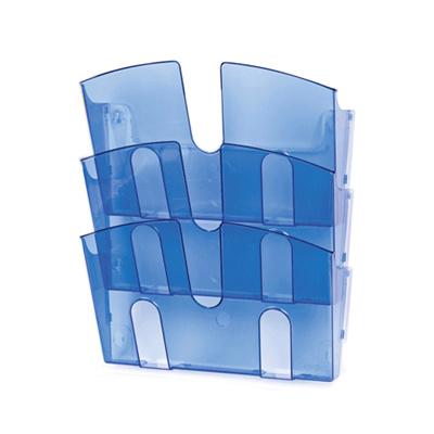 Лоток навесной для бумаг Attache, А4, 3 отделения, 290x215x32мм, синий